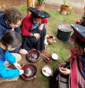 Demonstrating natural dye of cochineal