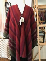 Ruana featuring Cochineal natural dyes. Accessories include ponchos, shawls, scarves, bags and more.
