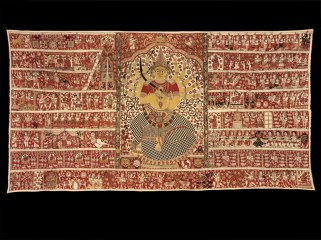Gangamma Hanging (detail), dated and signed by Koppala Subbarayudu (active 19th c.), cotton, with hand-drawn outlines, dyed and painted, Machilipatnam (Masulipatam), Andhra Pradesh, 1881-2, © Victoria and Albert Museum, London