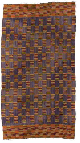 Kente cloth made by the Ashanti people circa 1960-1980 in Ghana. IQSCM 2018.045.0004.