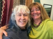 Judy Newland (left) is the customer's best friend at ClothRoads. She manages the studio, ships the online orders, processes the new inventory and shares her textile knowledge with students throughout the region. And yes she does have indigo-dyed hair. Right: Linda Stark, co-partner ClothRoads.
