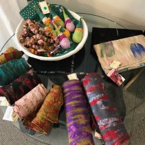 Felted wool over vintage sari scarps from Nepal.