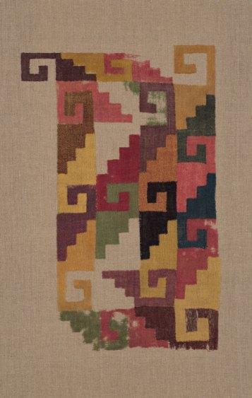 Nazca; south coast, Peru; Panel Fragment, 200/500; Wool (camelid) and cotton, plain weave of discontinuous single interlocking warps and wefts; 51.8 x 32.7 cm (20 3/8 x 12 7/8 in.); The Art Institute of Chicago, restricted gift of Mrs. Edwin A. Seipp;1956.76