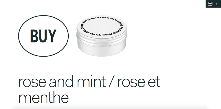 Minimal, large, black text on a white background: a buy button next to the product photo and the product name below.