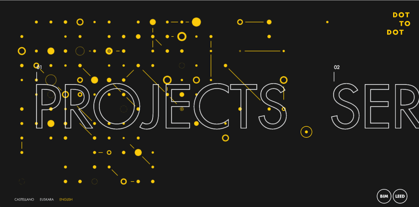 White, outlined text on a black background over a grid of yellow dots connected by lines to form a constellation-like image