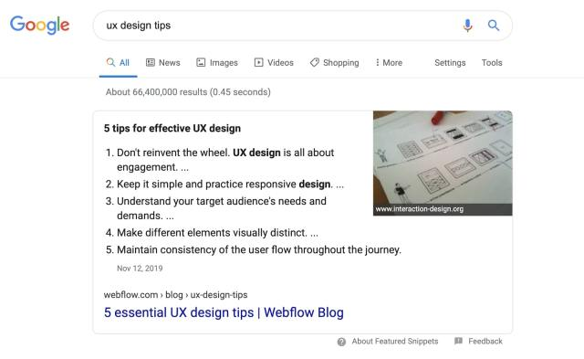 webflow ranking for featured snippet