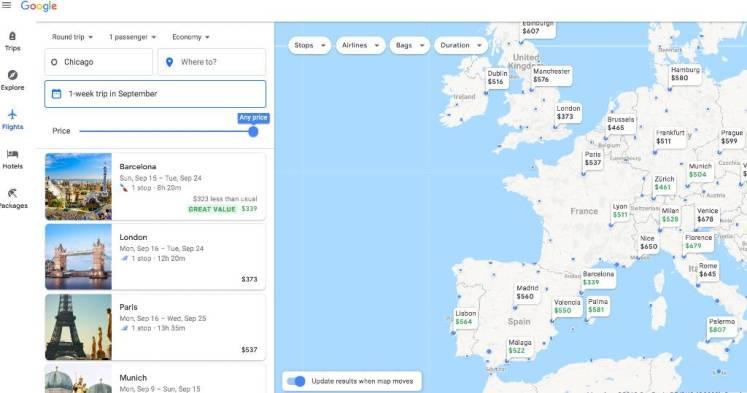 Google's Explore map