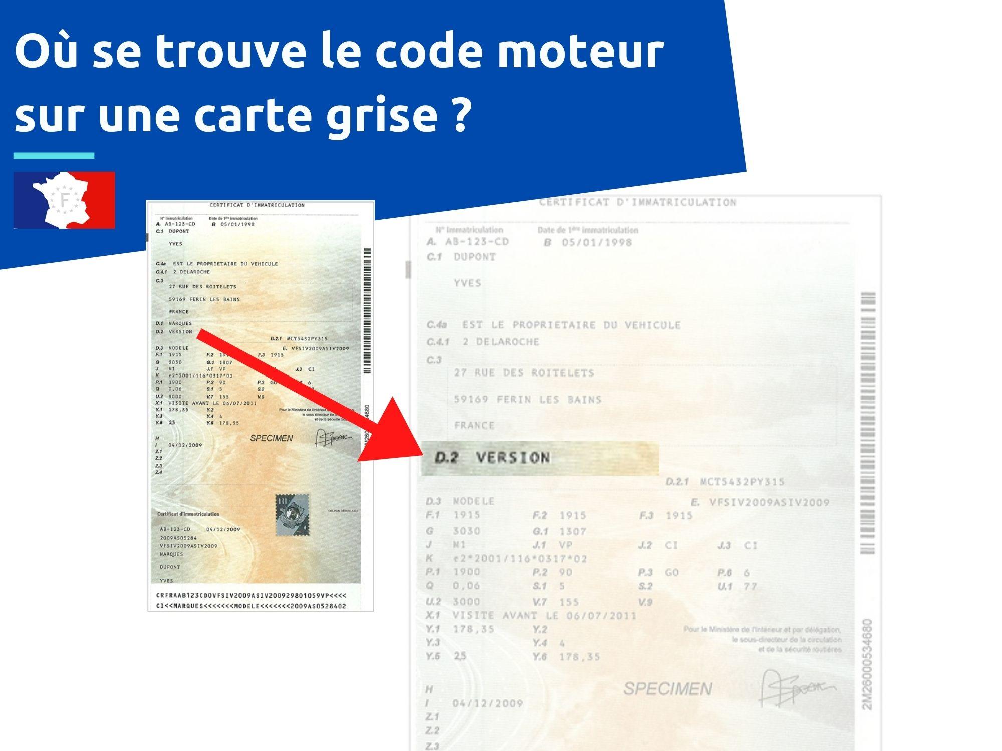 code moteur sur une carte grise