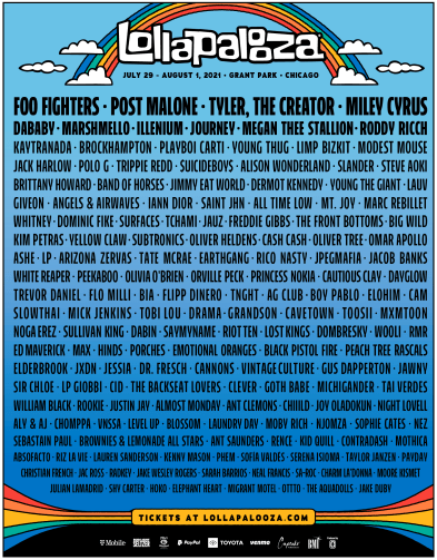 Lollapalooza – July 29-August 1, 2021 – Grant Park, Chicago