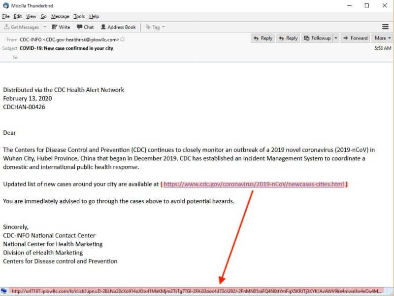 Covid-themed Netwalker phishing email