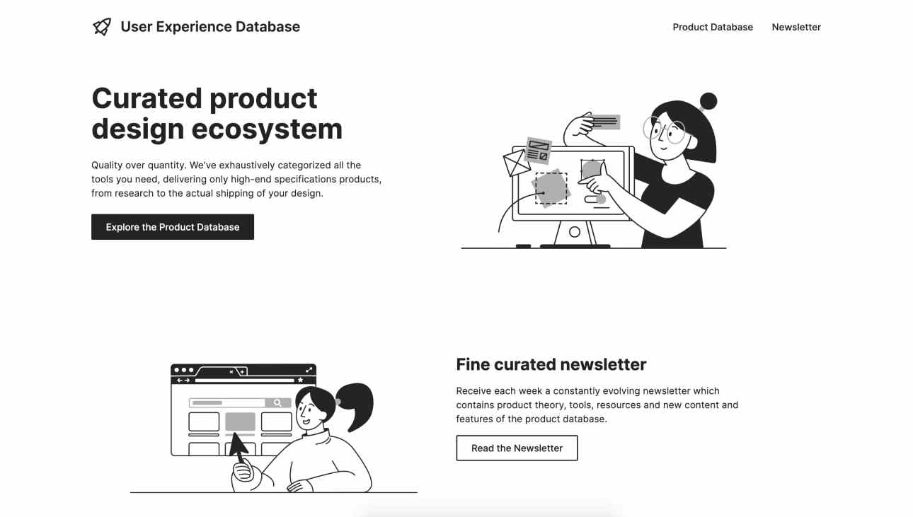 The User Experience Database pairs friendly illustrations with a clean layout.