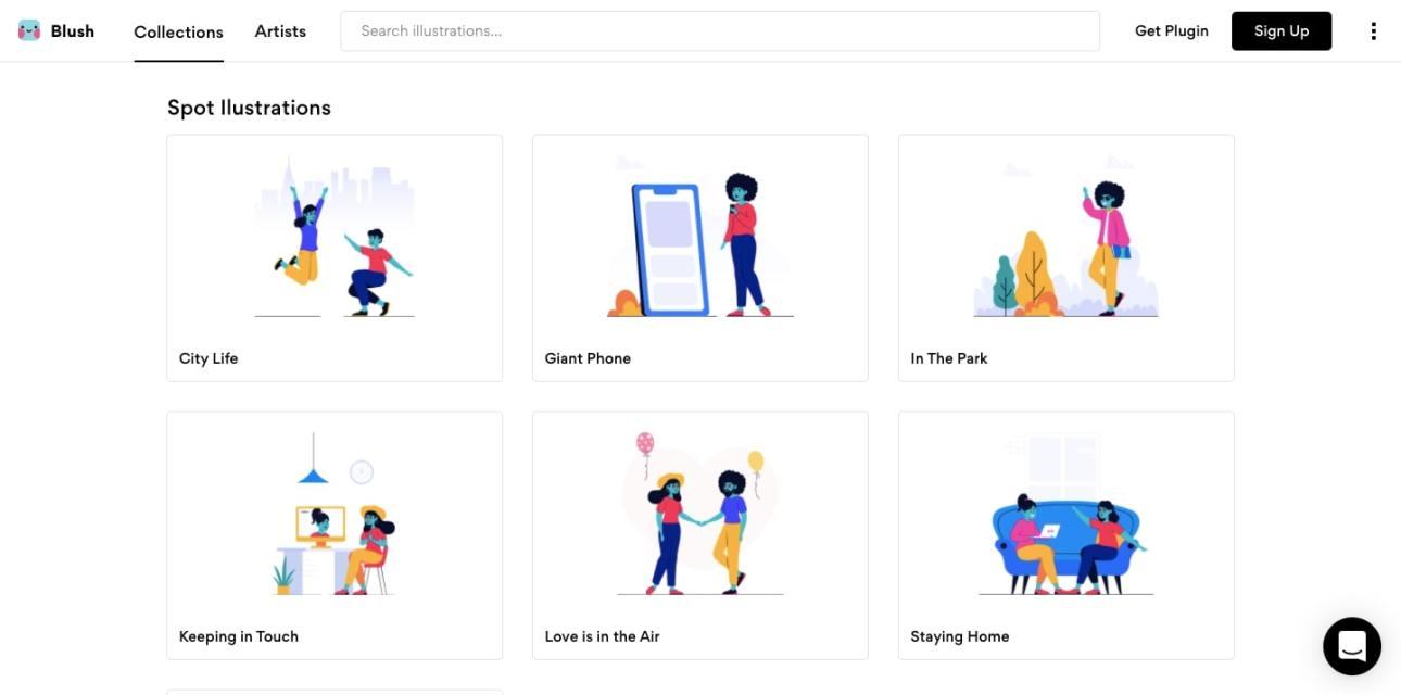 Blush's illustration platform features various customizable character illustrations.