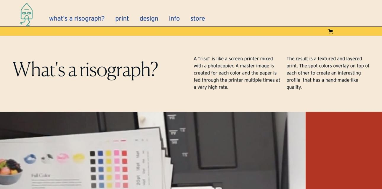 Home Run Studio's editorial-inspired layout works well for their page about risographs.