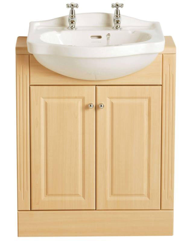 Rhyland Semi Recessed 590mm 2 Taphole Basin PRHW36