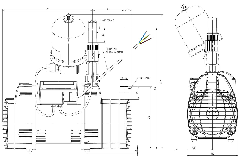 Stuart Turner Techflo Qt Universal 3 3 Bar Single Shower Pump