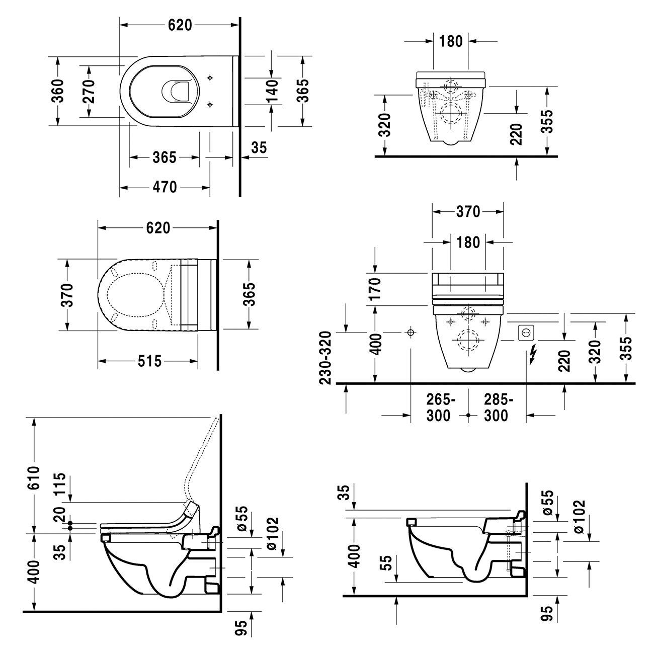 Duravit Starck 3 Wall Mounted Toilet 620mm