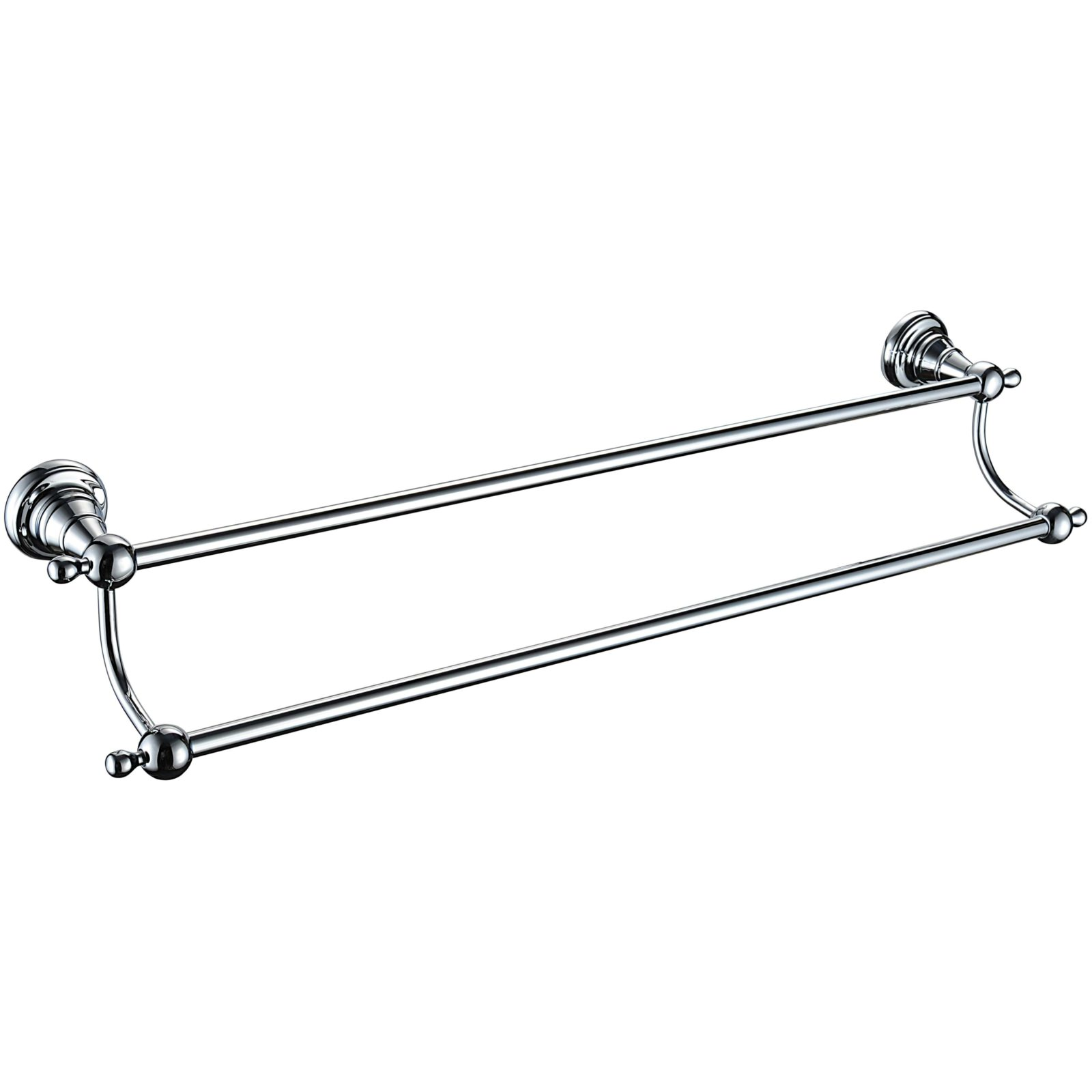 Heritage Holborn 615mm Chrome Double Bar Towel Rail