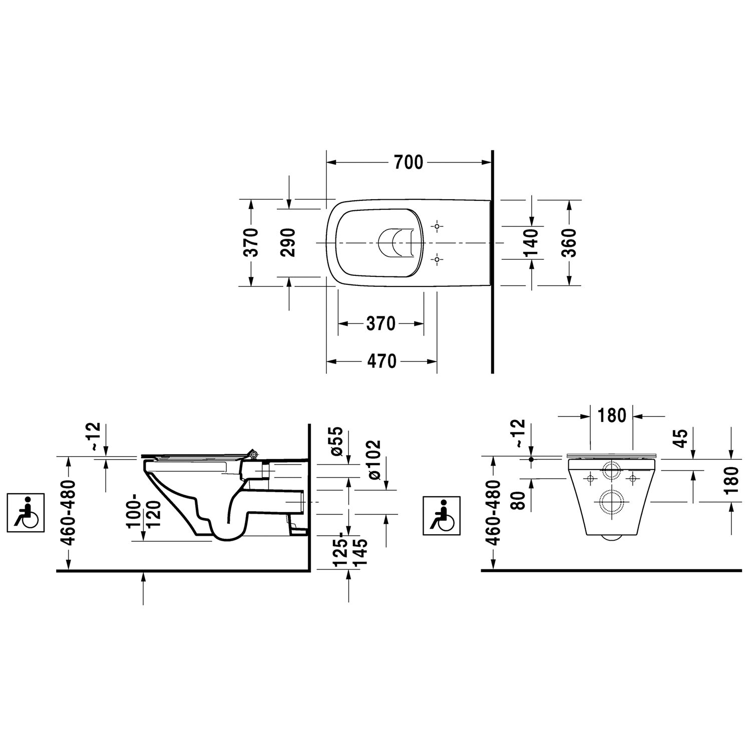Duravit Durastyle 370 X 700mm Wall Mounted Rimless Toilet