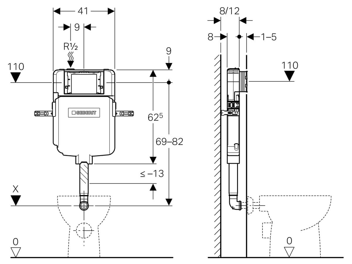 Geberit Sigma 8cm Concealed Cistern Up720 109 792 00 1