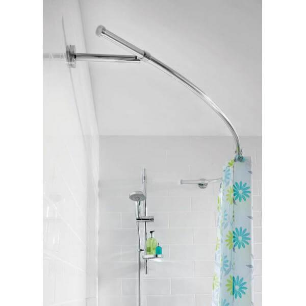 croydex luxury curved shower curtain rail rod