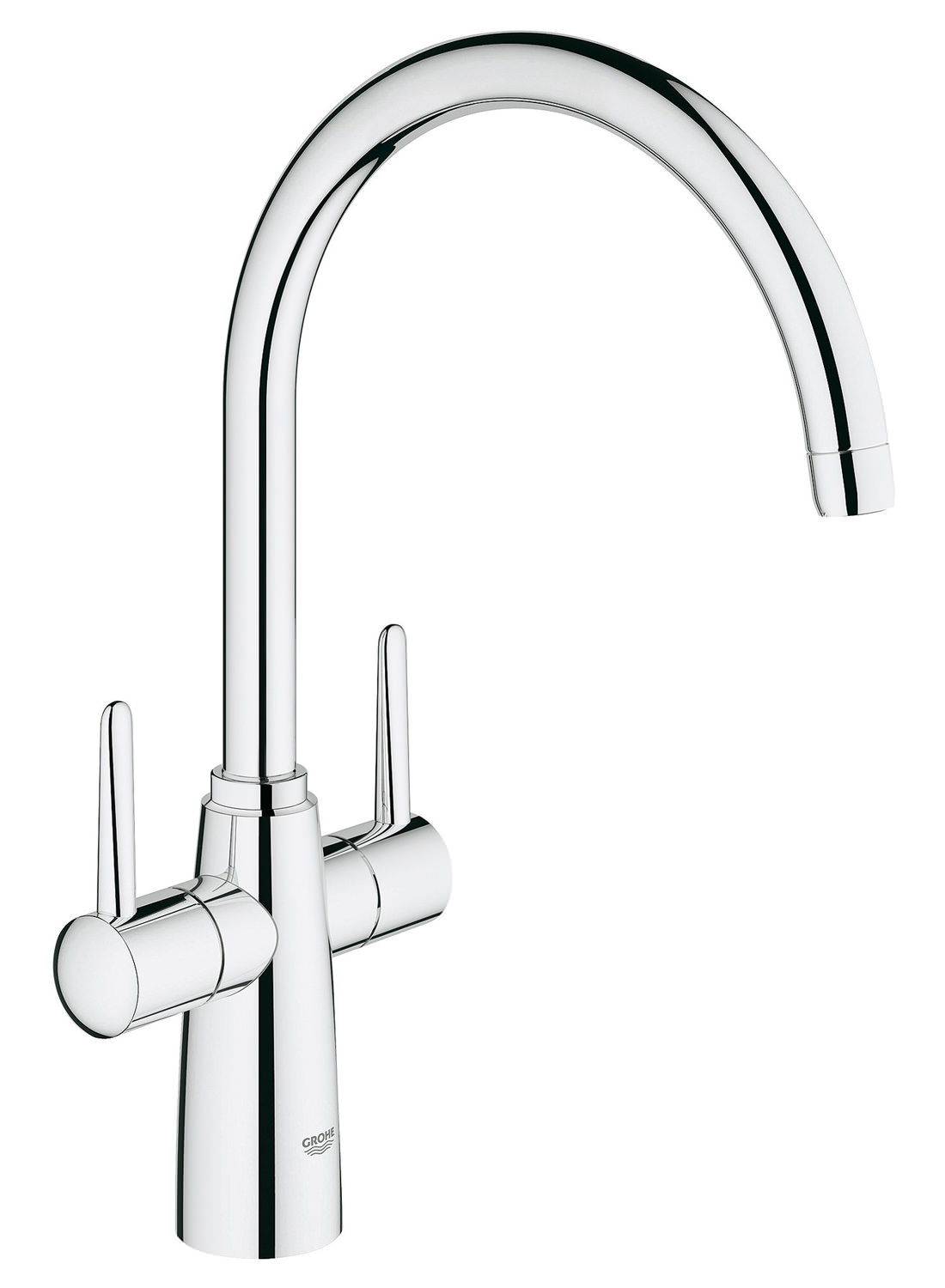 grohe ambi contemporary 2 handle kitchen sink mixer tap with swivel spout