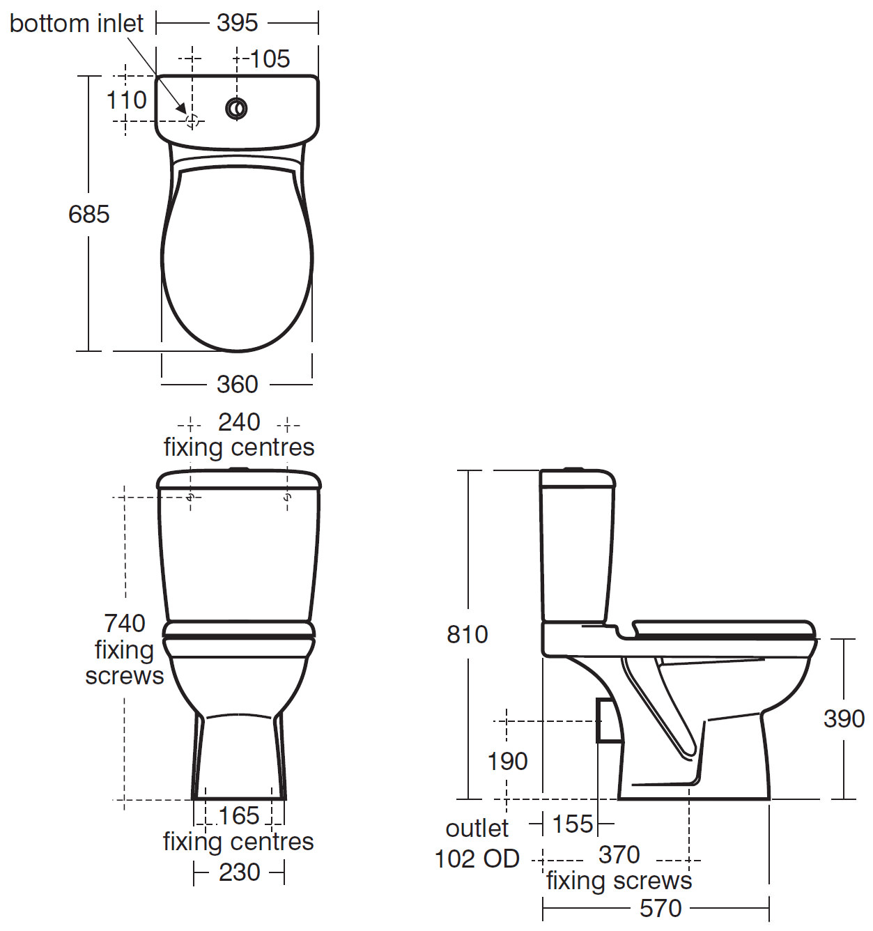 Ideal Standard Alto Close Coupled Wc Pan 685mm