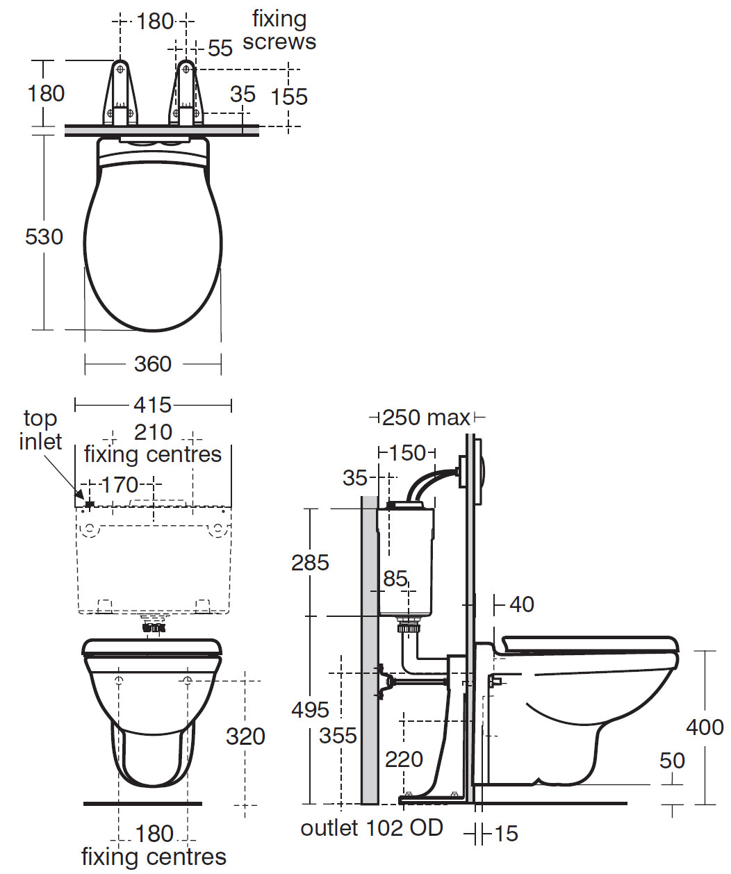 Ideal Standard Alto Wall Mounted Wc 530mm