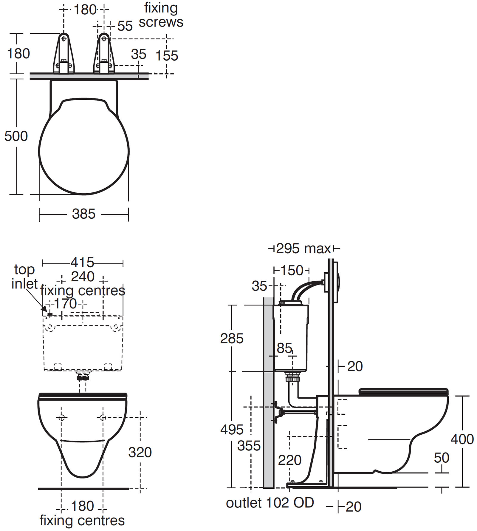 Ideal Standard Space Wall Hung Wc Pan With Horizontal Outlet