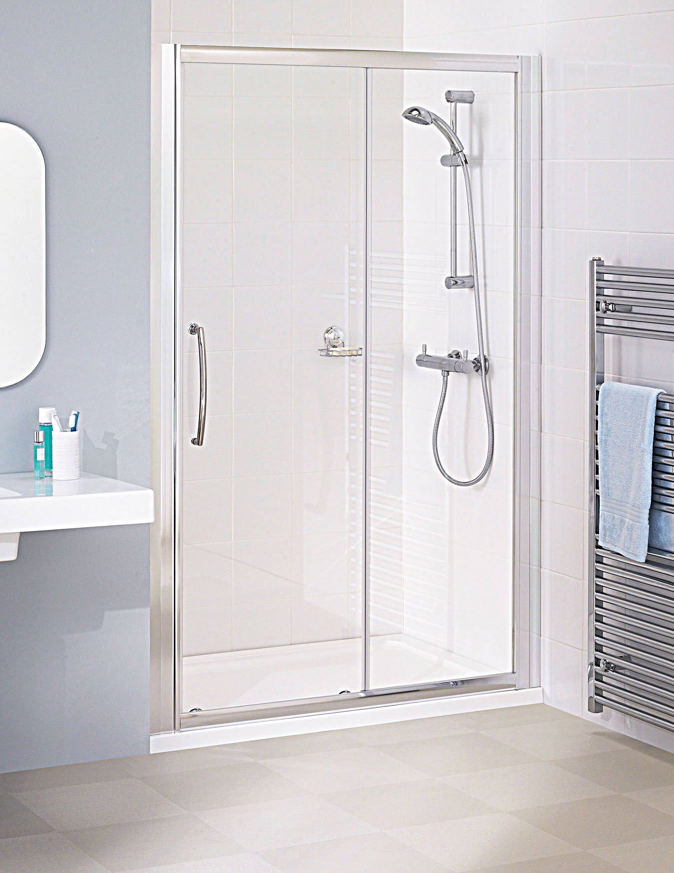 Lakes Classic Silver Semi Frame Less Slider Door 1000 X