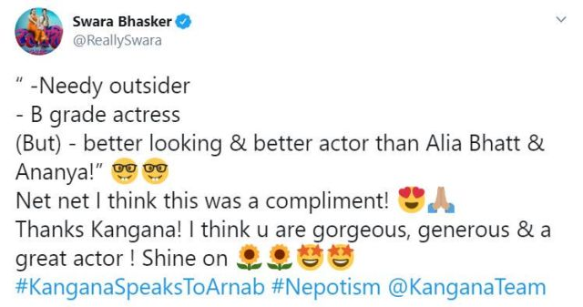 Team Kangna Slams Tapsee Swara Bhasker Reacts On Being Called A 'B-Grade Actress' By ...