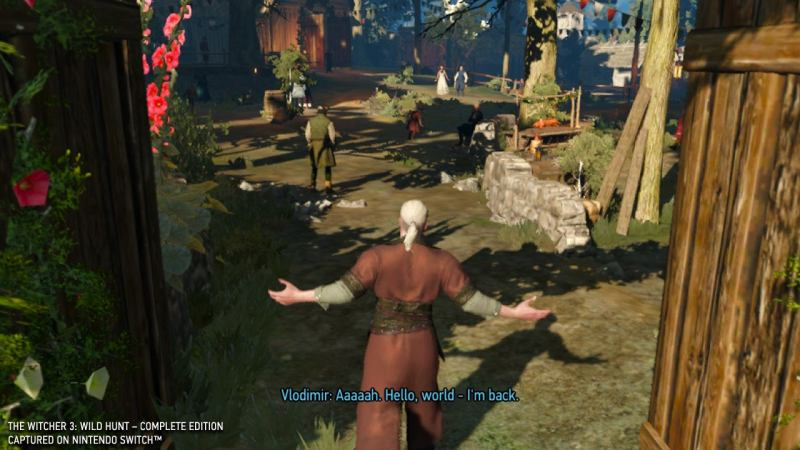 Screenshot of The Witcher 3: Complete Edition running on Nintendo Switch.