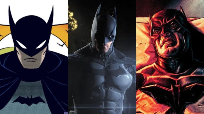 Click to see how Robert Pattinson's Batman costume evokes many Batman incarnations in comics and video games.