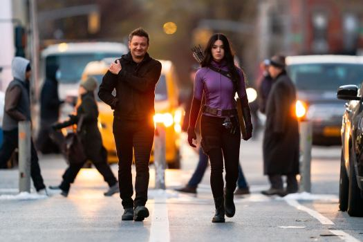 Jeremy Renner and Hailee Steinfeld filming Marvel's Hawkeye in New York City in December 2020. (Photo credit: Getty Images)
