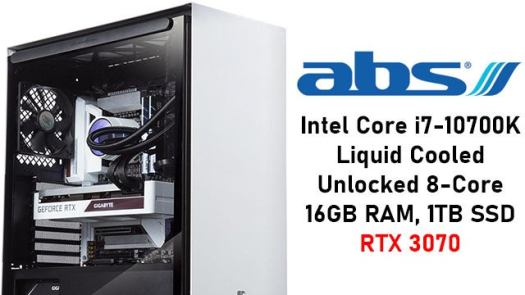 ABS Gladiator Intel Core i7-10700K RTX 3070 PC with 16GB RAM, 1TB SSD