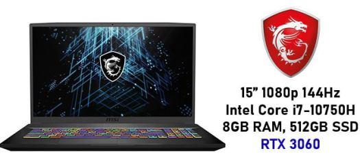 "MSI GF65 Thin 15"" 144Hz Intel Core i7-10750H RTX 3060 Gaming Laptop with 8GB RAM, 512GB SSD"