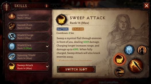 Characters can have one primary attack and four other skills equipped at a time.