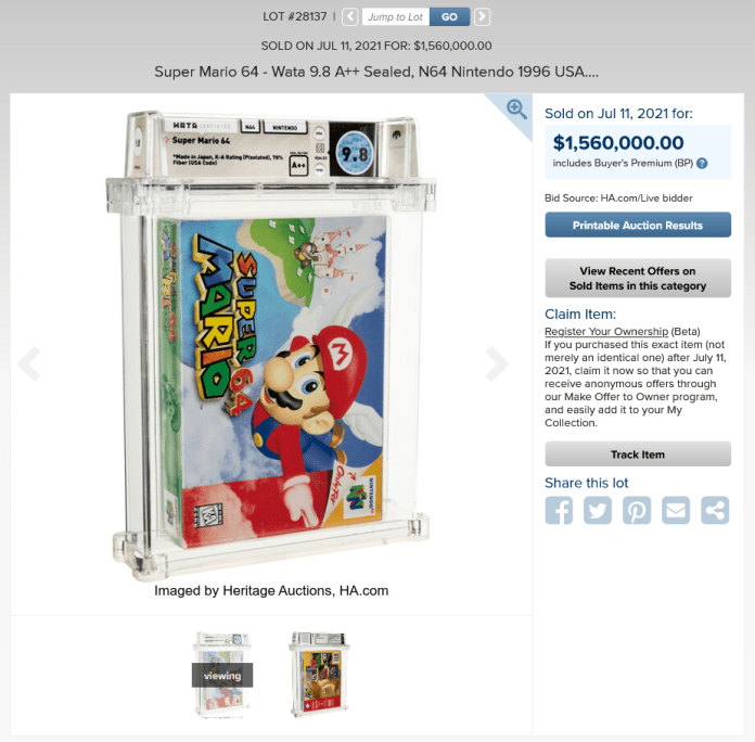 screenshot 2021 07 11 at 14 53 48 super mario 64 wata 9 8 a sealed n64 nintendo 1996 usa lot 28137 heritage auctions 1626029661657 9to5game