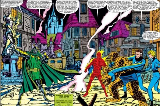 Doctor Doom faces the Fantastic Four in Latveria.