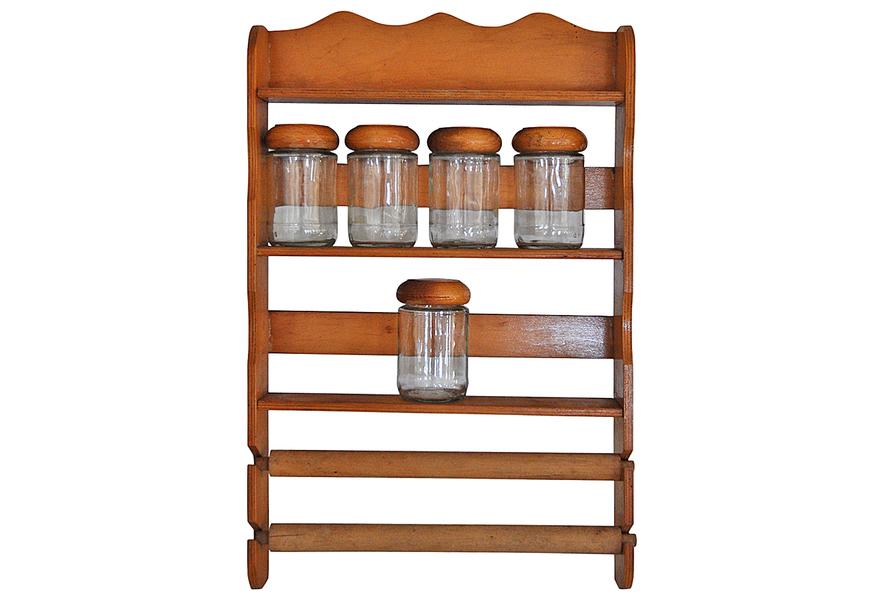 vintage wooden spice rack with glass bottles vinterior