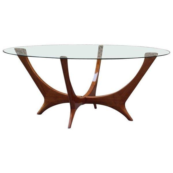 elegant italian coffee table round cherry wood glass top mid century modern cassina vinterior