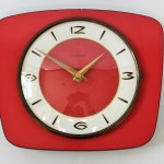 Vintage Mid Century Modern Junghans Wall Clock In Red And Gold Junghans Vinterior