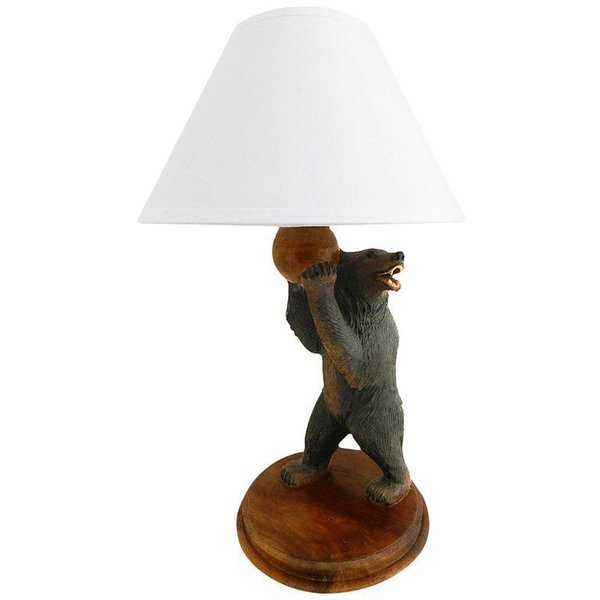 black forest bear table lamp early 20th century carved wood vinterior