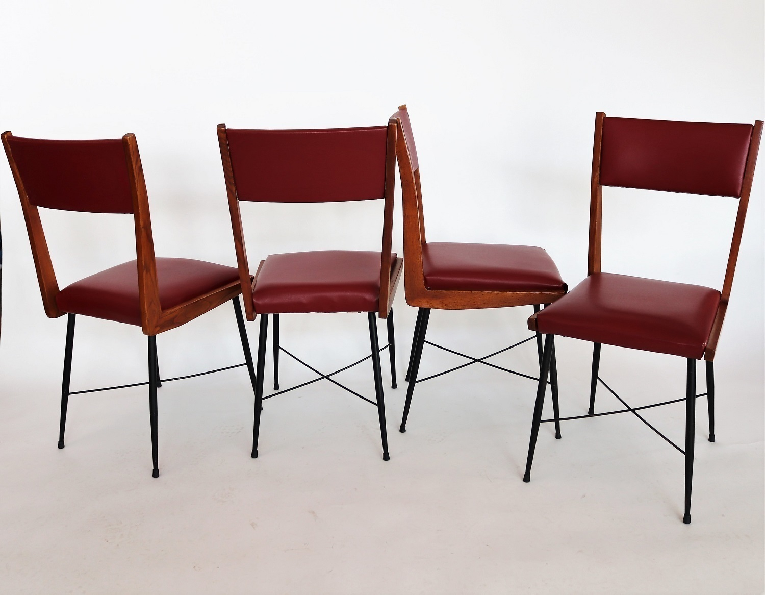 Italian Mid Century Dining Chairs In Chestnut And Leatherette 1950s