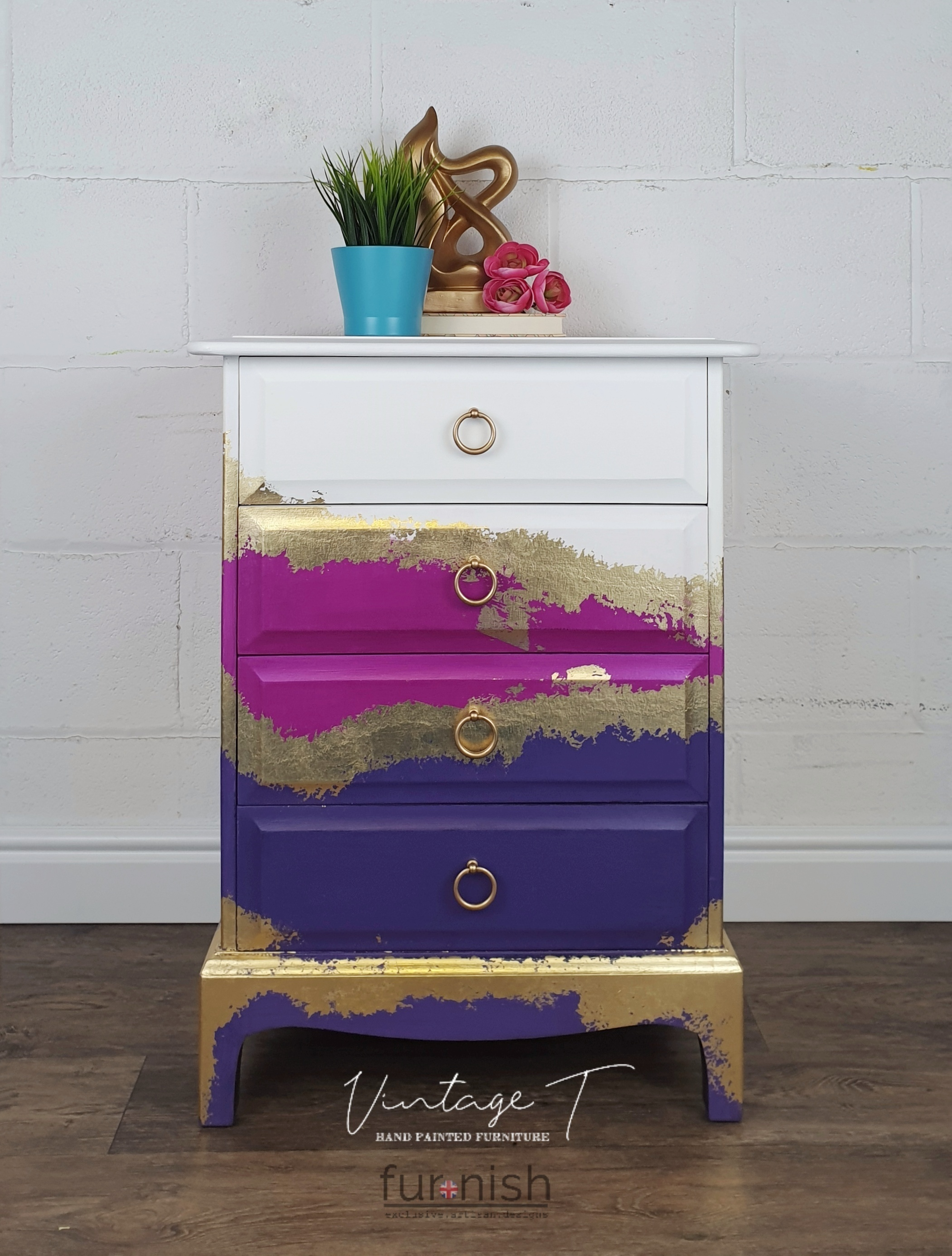Purple Pink White And Gold Stag 4 Drawer Chest Of Drawers