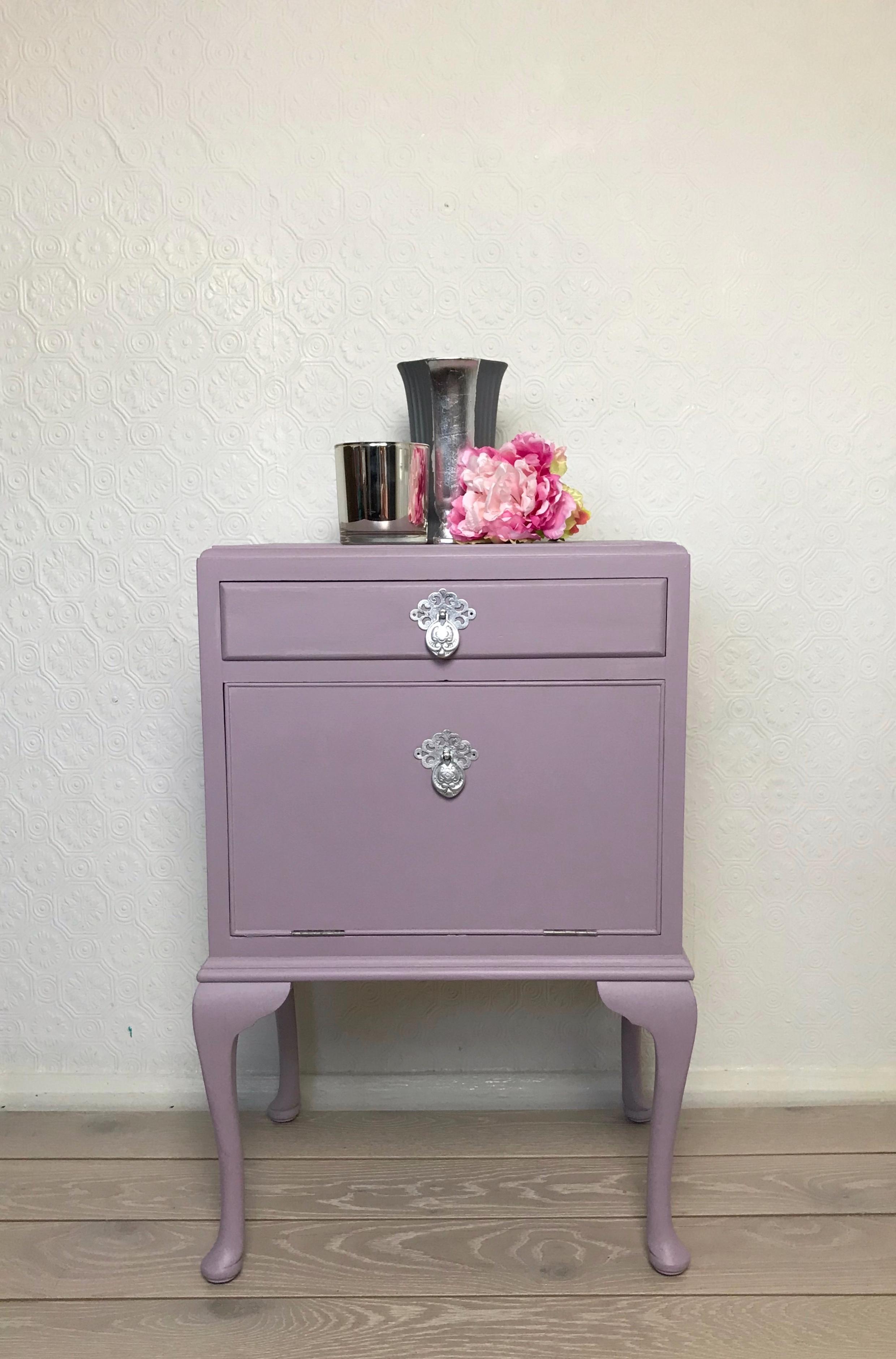 Pretty Purple And Silver Bedside Cabinet