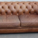 1960s Vintage Brown Leather 2 Seater Chesterfield Sofa