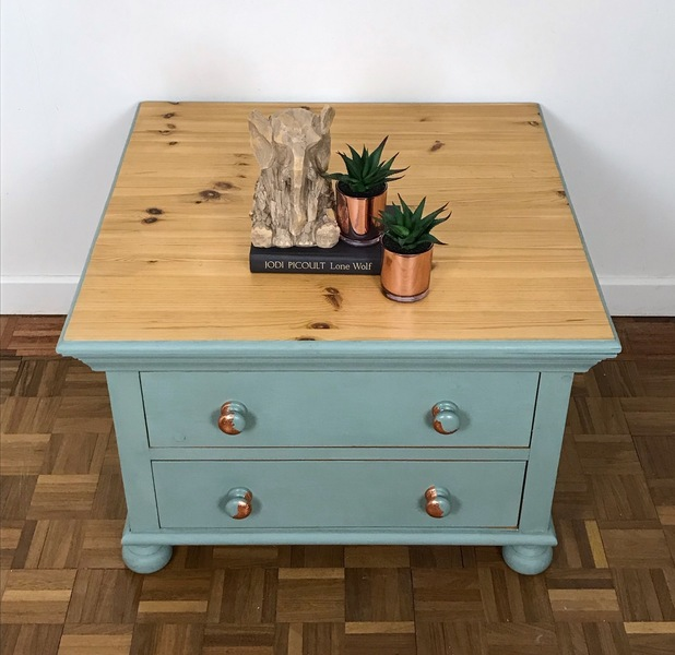 solid wood duck egg blue square coffee table with storage drawers