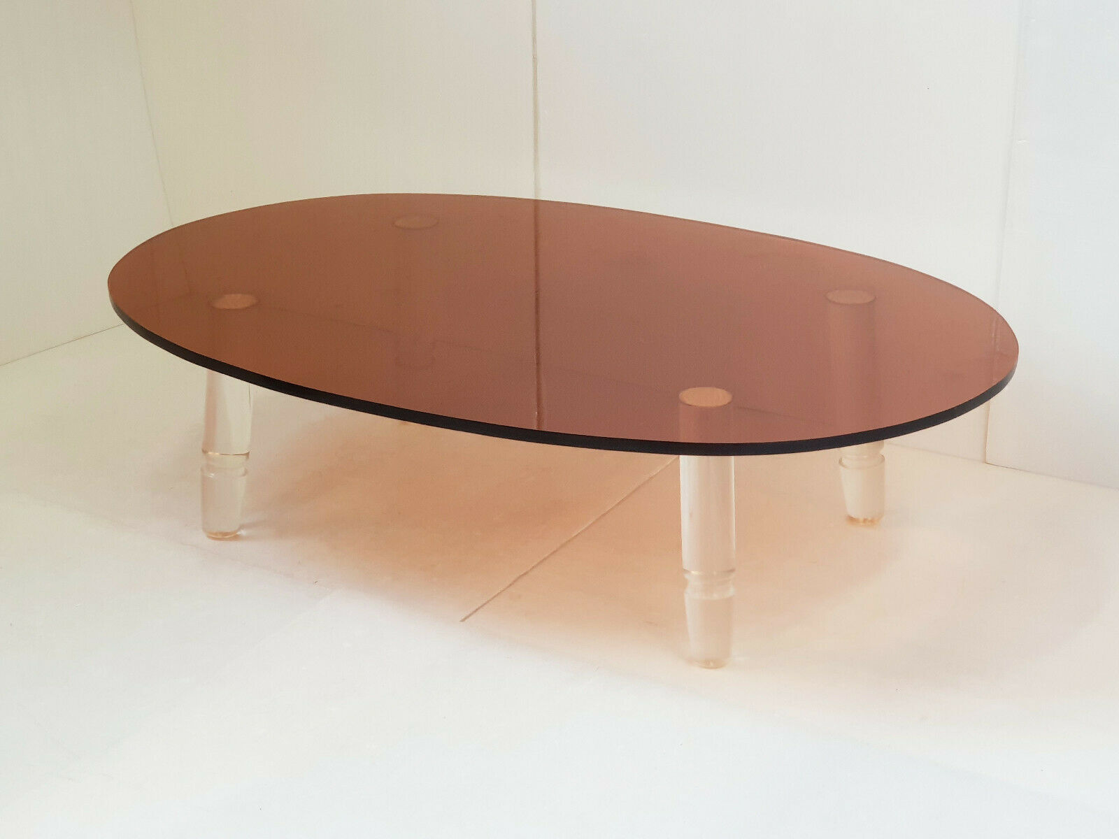 magnificent 1970 vintage coffee table in smoked transparent 70s plexiglas