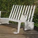 Modernist Modern Design White Metal Garden Bench 1990s Vinterior