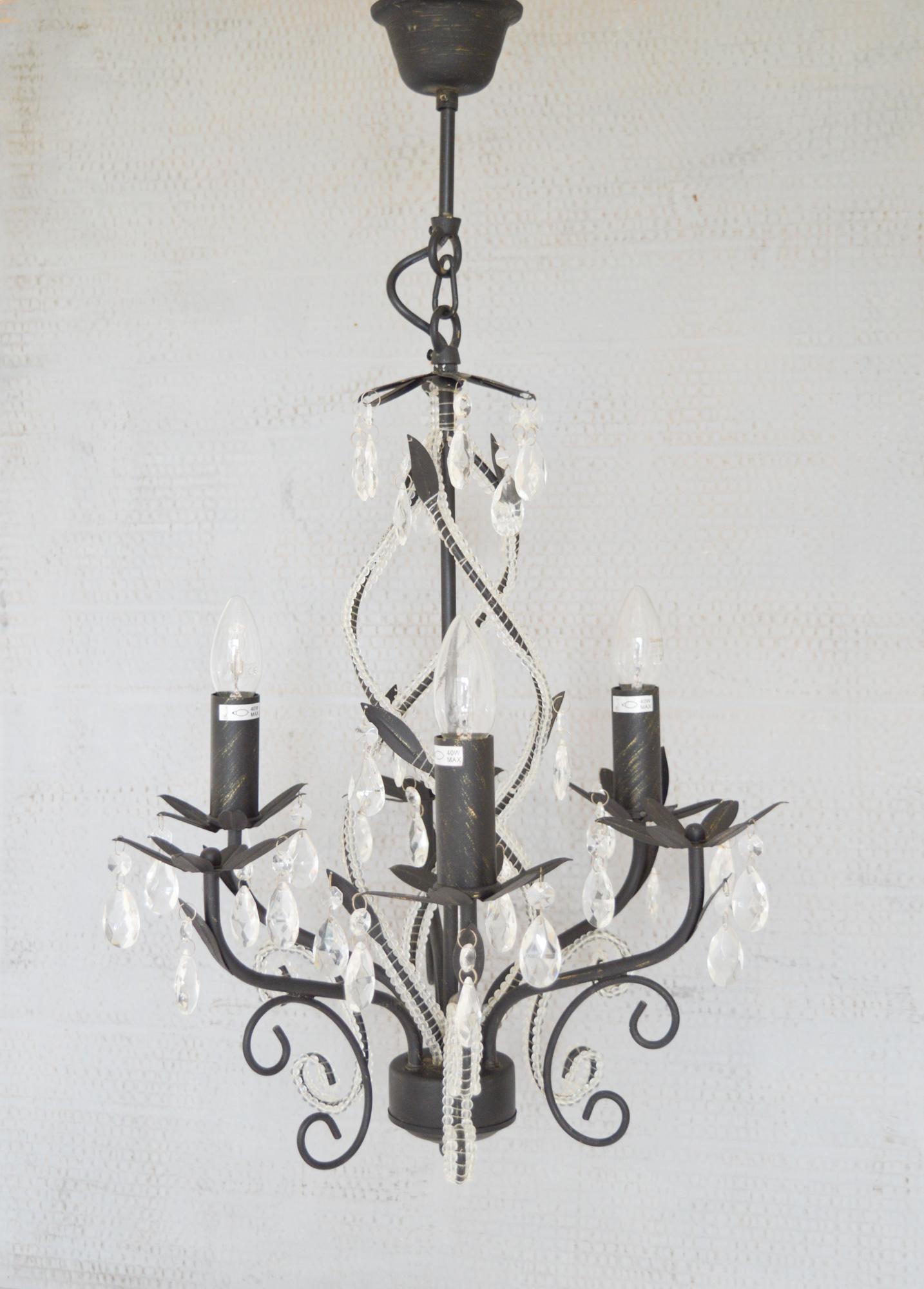 Vintage Black 3 Arm Crystal Glass Chandelier Bhs Wavy Inner Beaded Detail Chandelier Black Metal 3 Light Ornate Chandelier Ceiling Light Bhs Vinterior